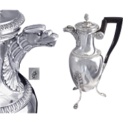 Antique French Sterling Silver Coffee Pot, Eagle Head - J.V MASSON 1807-1818