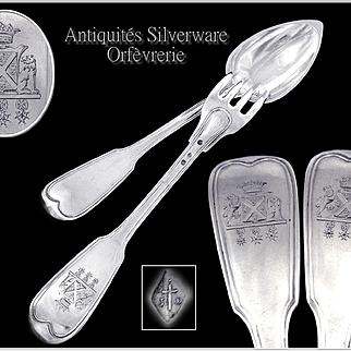 De Suffren Family - Duke's Crown - Very Rare, Antique French Sterling Silver Ragout Fork & Spoon Server Set- Early 19th.C.