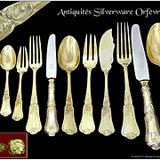 Boulenger - Antique French Sterling Silver Flatware Set with Knives - 66 pieces- Minerve