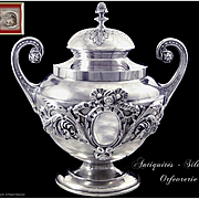 Antique French Sterling Silver & Vermeil Covered Sugar Bowl by P.F Queillé 1834-1846 Paris