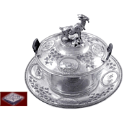 Antique French Sterling Silver & Crystal Covered Butter Dish -Lavallée à Paris