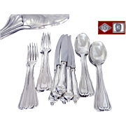 PUIFORCAT - Luxurious & Elegant, Antique French Sterling Silver Dinner Flatware Set for Six Guests