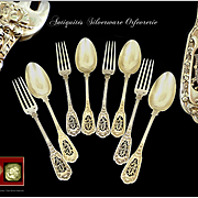 Antique French Pierced Pierced Sterling Silver  & Vermeil Dessert or Hors-d'oeuvre Flatware set, by H. Soufflot