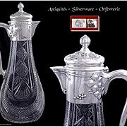 Art Nouveau - Russian Crystal,  Silver and Vermeil Ewer - Klimeent Anikiyevich Zagayevsky