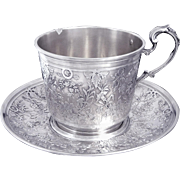 Antique French Sterling Silver Chased & Engraved Cup and Saucer