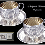 "Antique French Sterling Silver Pair of Cups & Saucers "" Déjeuner"" / Chocolate - Head to Head."