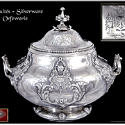 Martial FRAY - Rare and Beautiful Sugar Bowl - Coast Arms de Bremond d'Ars - Crown of Marquis