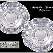 DEBAIN - Stunning Antique French Sterling Silver Wine Coasters - Minerve