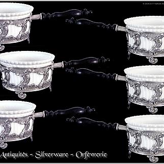 J.Monney - Antique French Silver & Porcelain Cassolettes For Six Guests