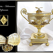 J.B.C ODIOT ( 1763 - 1850) -  Antique French Empire Era Sterling Silver & Vermeil Drageoir Butterflies & Gorgo