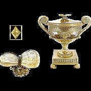 J.B.C ODIOT ( 1763 - 1850) -  Antique French Empire Era Sterling Silver & Vermeil Drageoir Butterflies & Gorgo