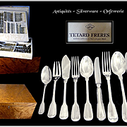 TETARD FRERES - 110 Pc.  Antique French Sterling Silver Flatware Set Minerve 950