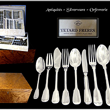 TETARD FRERES - 110 Pc.  Antique French Sterling Silver Flatware Set Minerve 950