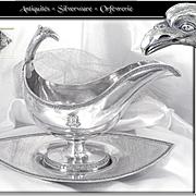 Rare - Bompart in Paris - Antique French Sterling Silver Gravy Boat Empire Era - 1803-1804