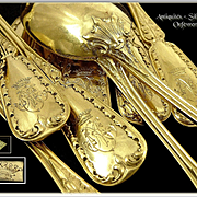 Queillé in Paris - Antique French Sterling & Vermeil Tea or Dessert Spoons. for 12 Guests.
