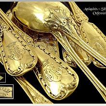 Queillé in Paris - Antique French Sterling & Vermeil Tea or Dessert Spoons. for 12 Guests.