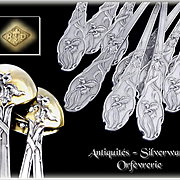Ravinet & d'Enfert - Art Nouveau, Antique French Sterling Silver  & Vermeil Dessert or Tea Spoons. Iris Pattern.