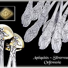 Ravinet & d'Enfert - Art Nouveau, Antique French Sterling Silver  & Vermeil Dessert or Tea Spoons. Iris Pattern.