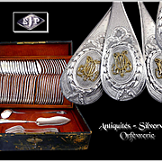 For 18 Guests, By Emile Puiforcat, An Exceptional Antique French Sterling Silver & Gold(18k) Flatware Set.