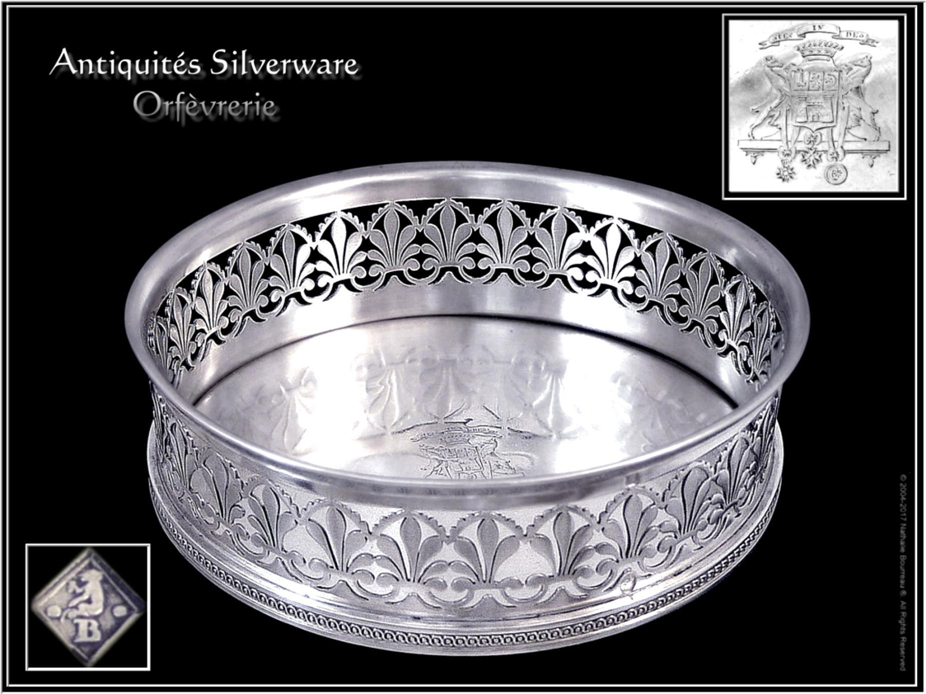French Sterling Silver Pierced Wine Coaster by Martin-Guillaume Biennais. silversmith of Napoleon 1st.