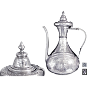 Ottoman Style Antique French Sterling Silver Coffee Pot - Chiselled & Engraved - Paris 1849