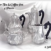 Regence Style - Antique Belgian Silver Tea and Coffee Pot Set -  4 PC.