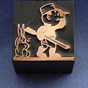 Vintage Letterpress Printers Block - Rabbit Hunter