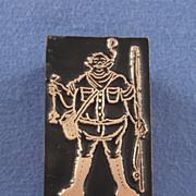 Vintage Letterpress Printers Block - Funny Fisherman