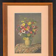 Framed Stehli Postcard Print Of A Floral Arrangement