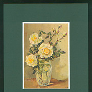 Matted Stehli Floral Still Life Postcard/Print - White Roses