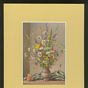 Matted Stehli Floral Still Life Postcard/Print - Wild Flowers