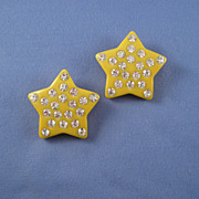Yellow Plastic Star Earrings With Rhinestones