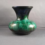 Medium Blue Mountain Pottery Vase in Green-drip Glaze