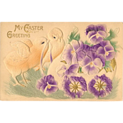 Embossed and Gilded Easter Postcard - Chicks and Pansies