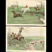 Artist Signed G.D.Rowlandson Fox Hunting Postcard Pair