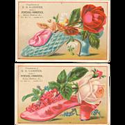 Victorian Advertising Trade Cards - Roses & Shoes - R. D. Gardner - Adams, NY