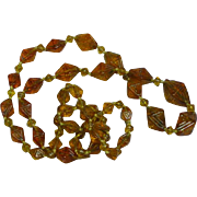 Beautiful Czech Hand Knotted Molded and Pressed Glass Beads Necklace