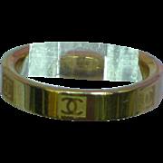 Chanel CC Logo Gold-Plated Wedding Band Rare Ring