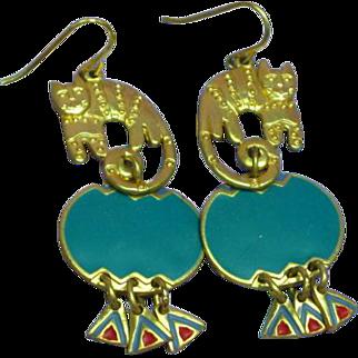 Edgar Berebi Whimsical Gold Tone Cats Enamel Pierced Earrings