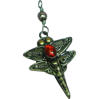 Sterling Silver Amber Stone Dragon Fly Pendant