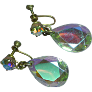 Vintage Rhinestone 1960s AB Cut Crystal Tear Drop Earrings