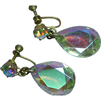 Vintage Rhinestone 1960s AB Cut Crystal Tear Drop Earrings
