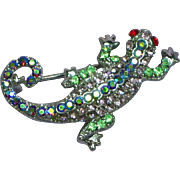 Gecko Leaping Lizards Rhinestones Fashion Fun Pin Brooch