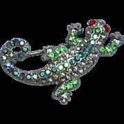 Gecko Leaping Lizards Rhinestones Fashion Fun Pin Brooch