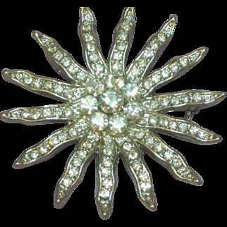 Rhinestones Huge Dazzling Designer Sun Ray Snowflake Pin Brooch