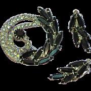 Rhinestones Mad Men Estate Black and A/B Vitrail Designer Pin and Earrings Demi Parure