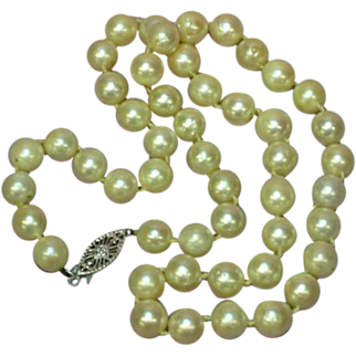 """Akoya Creamy White Cultured Pearls 14K White Gold 16"""" Sweetheart Vintage Necklace"""