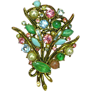 Weiss Marked Estate Rhinestones and Gripoix Glass Art Glass Antiqued Goldtone Pin Brooch