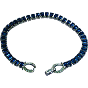 Art Deco Beautiful Blue Baguette Rhinestone Bracelet