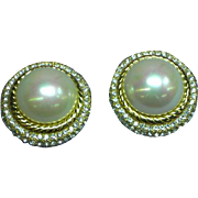 CHRISTIAN DIOR Designer Signed Large  Faux Pearl Crystal Rhinestone Clip Earrings